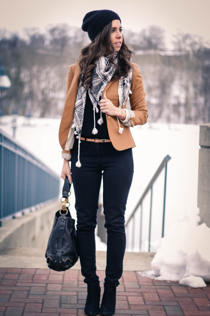 va darling. camel blazer. vintage scarf. black pants & beanie. dc blogger. fashion blogger. winder style 2