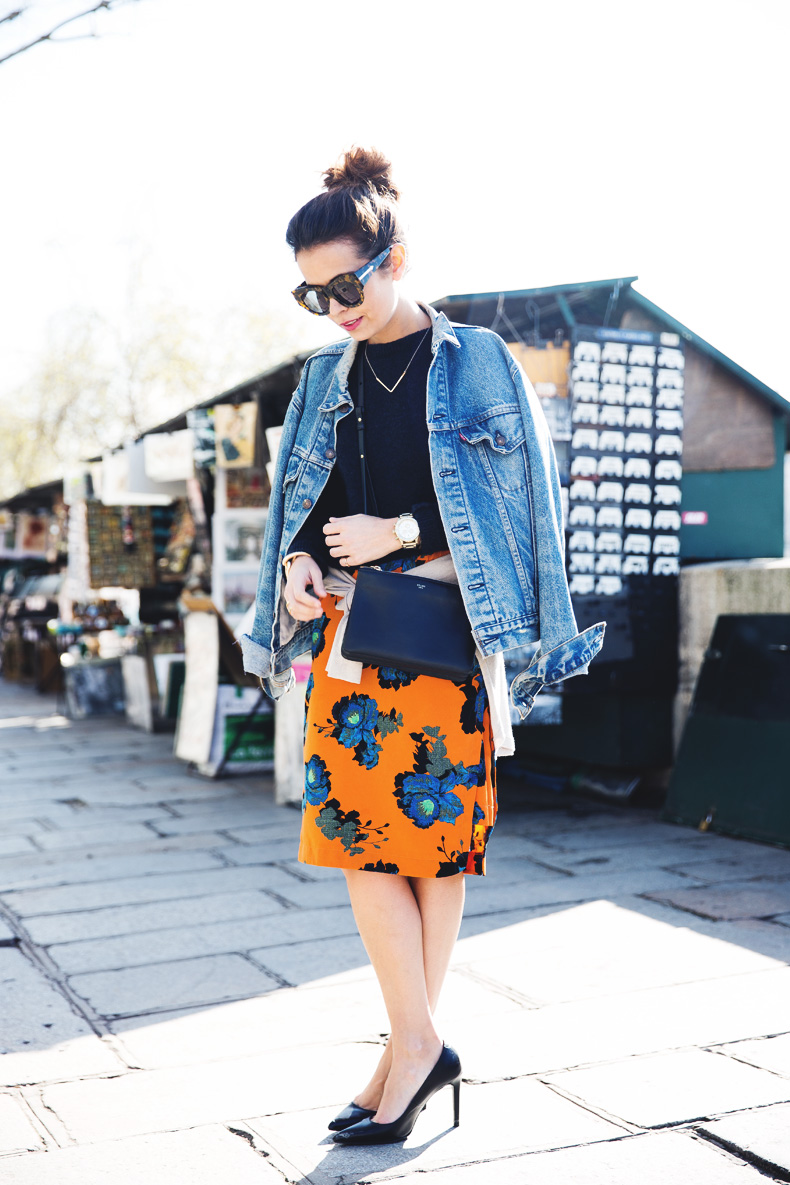 floral_skirt-topshop-orange-denim_jacket-street_style-pfw-outfit-karen_walker-celine-trio_bag-13