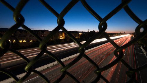 longexposure sunset highway dusk freeway mountainview chainlinkfence highway101