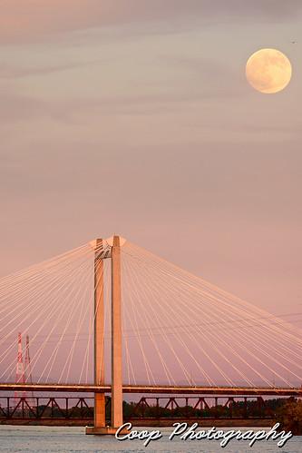 bridge sunset 2 summer moon june river ed photography washington nikon cities cable super columbia wa coop rise tri richland kennewick pasco southeastern 2013 hendler d7100