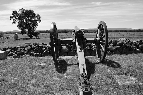 High Water Mark - Pickett's Charge 8 Cannon Facing West, Gettysburg, Pennsylvania USA.