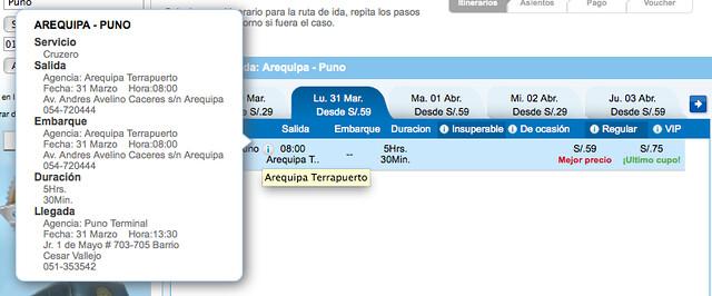 Ônibus Arequipa - Puno