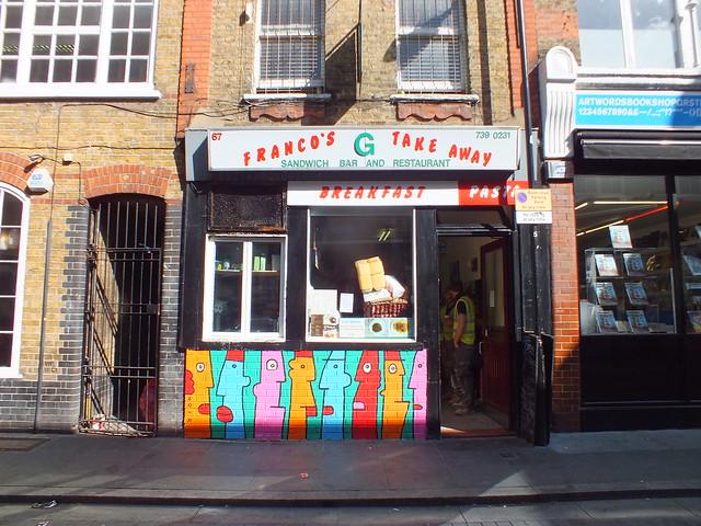Street art by Thierry Noir in Shoreditch, London