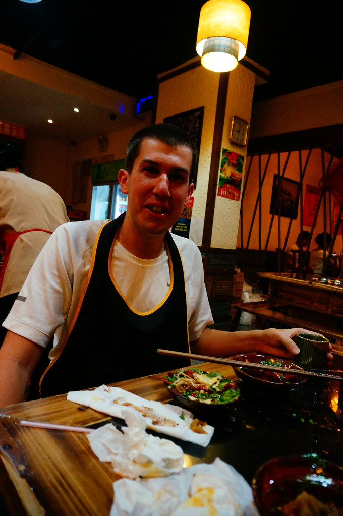 Andrew Eating Sichuan Hot Pot