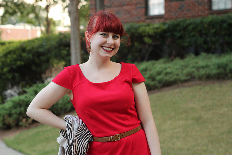 Cap Sleeved Red Dress from Modcloth with a Red Ponytail and Bangs