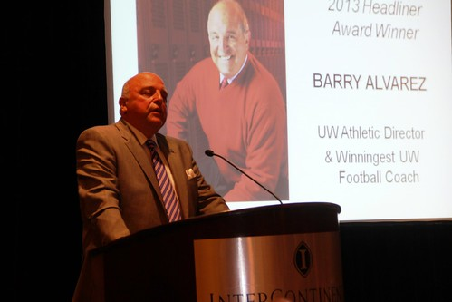 Headliner Award Winner Barry Alvarez at the Gridiron Awards Dinner on Friday, May 17, 2013.