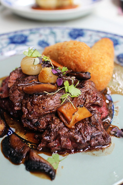 Hanger Steak with Croquettes and Wild Mushrooms