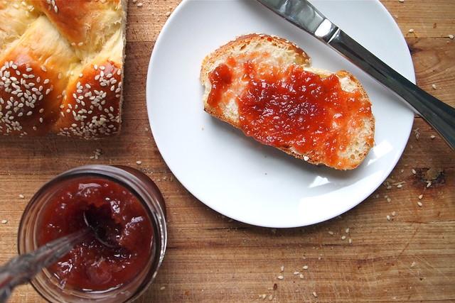 Rhubarb jam on toast