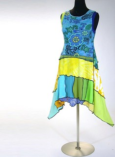 Blue and Yellow Sleeveless Knit Dress in Floral Motif, Size Medium, 12-14