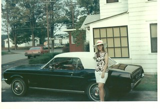 Mom with Ford Mustang Convertible, 1967