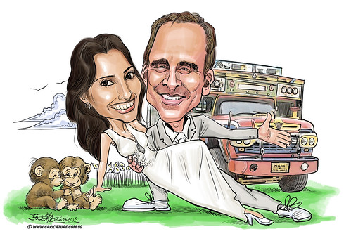 wedding couple invitation digital caricatures - A4
