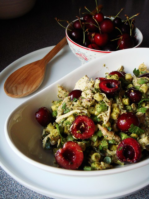 Cherry Chicken Salad with Mint Pistachio Pesto