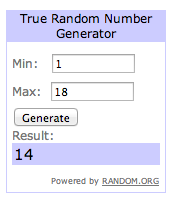 Another random number for a reader giveaway.