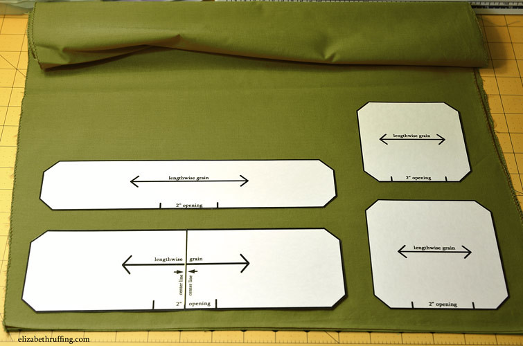 Catnip toy templates laid out on fabric, by Elizabeth Ruffing