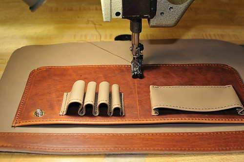 Custom Mitchell Briefcase: Sewing on the pen and business card holders