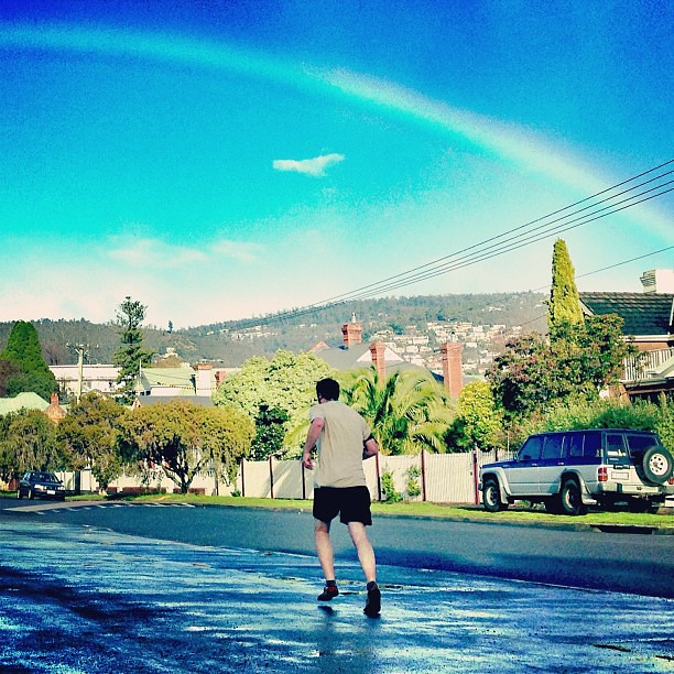 Captured this morning by @owletmama half way through my first ever 10-mile run. || #chasetherainbow #tenmilerun #running