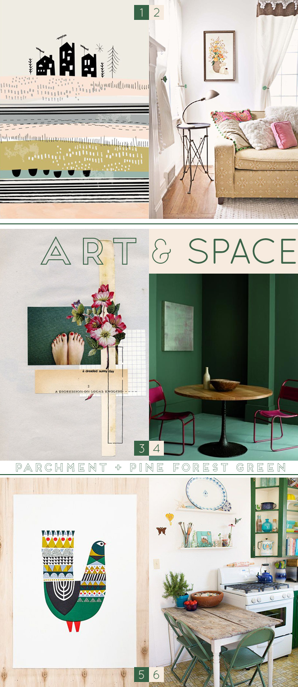 colour pinning : parchment & pine forest green / curated by Emma Lamb