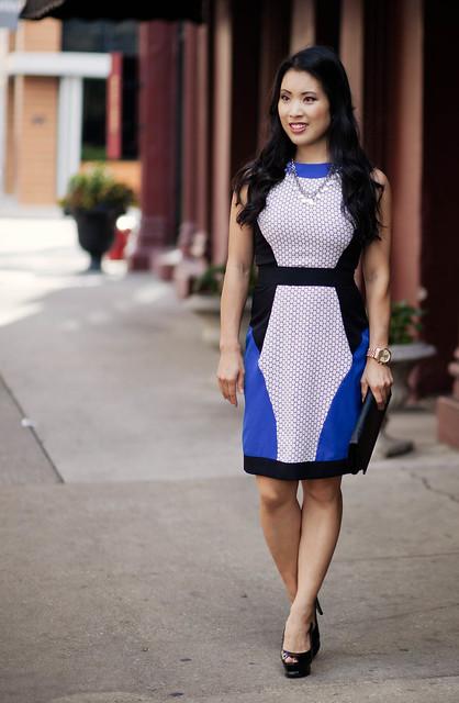 Cobalt Blue White Honeycomb Print Dress Wedding Guest