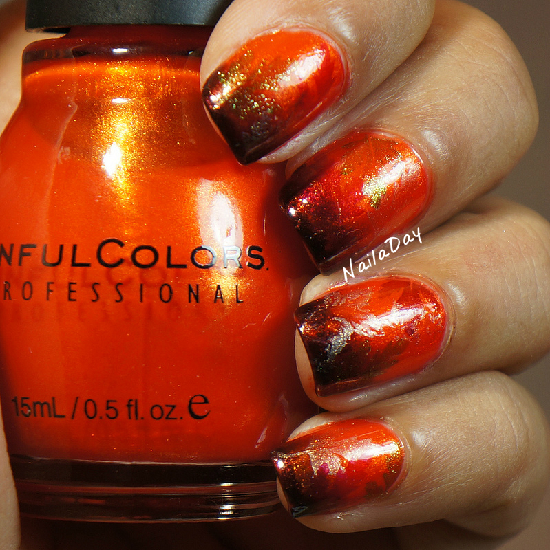 NailaDay: Autumn Nails with Sinful Colors Courtney Orange and Mercury Rising