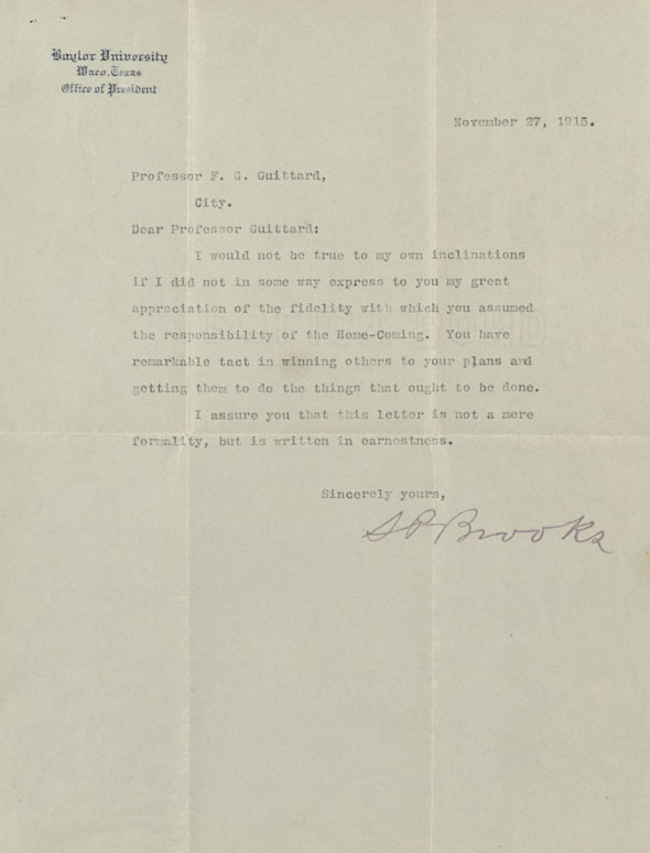 Samuel Palmer Brooks to Frank Guittard on Baylor Homecoming 1915