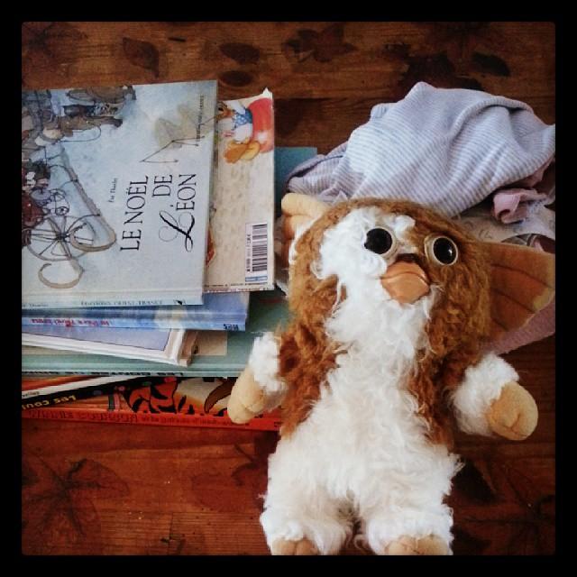 Trouvaille chez emmaus: pleins de livres, des body petit bateau et un #gizmo #gremlins #vintagetoys ^^