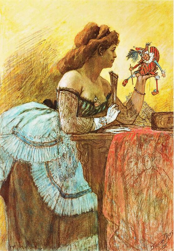 Félicien Rops - La Dame au pantin et à l'éventail (c.1873)