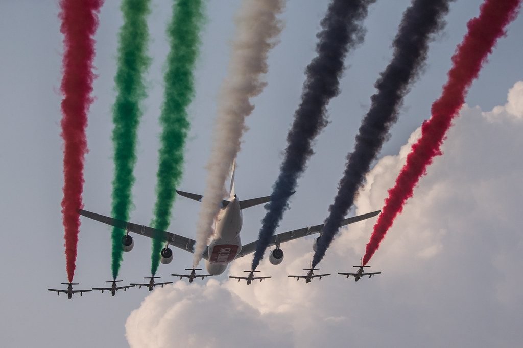 Al Fursan at Dubai Air Show 2013 with a380 from Emirates