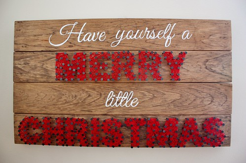 Wooden Christmas Sign With String Art Life At Cloverhill