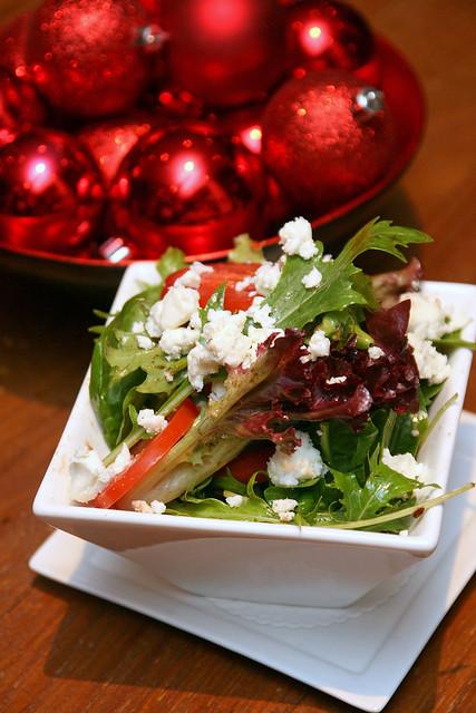 Side dish: feta, tomato, cucumber, mesclun