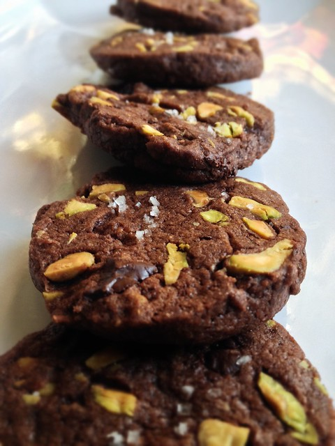 salted chocolate pistachio sables