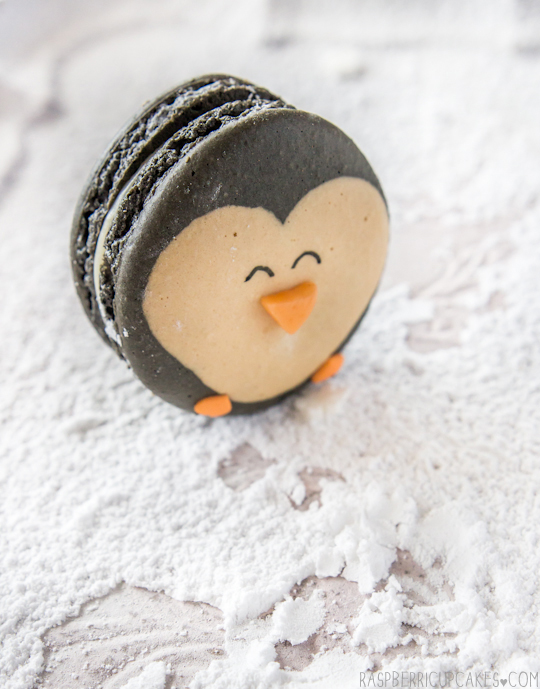 Penguin Macarons with Eggnog Ganache