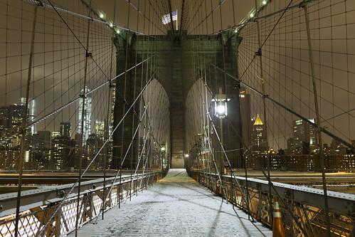 Flag, bridge, snow [Explored]
