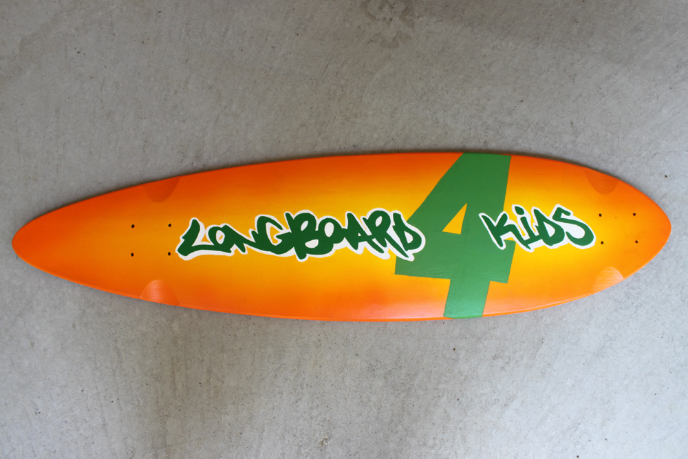 Custom airbrushed and hand painted longboard by Ace of Dymondz for Longboard4Kids charity fundraiser