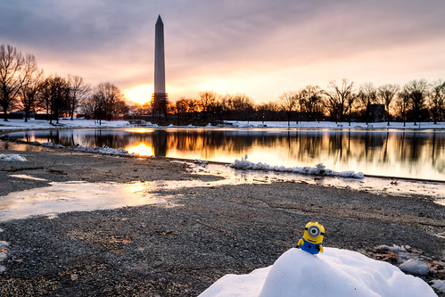 winter snow sunrise fun toy washingtondc dc doll phil constitutiongardens minion tongueincheek