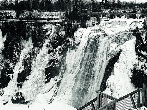 bridge winter sky white snow ice water waterfall day balcony chutesmontmorency