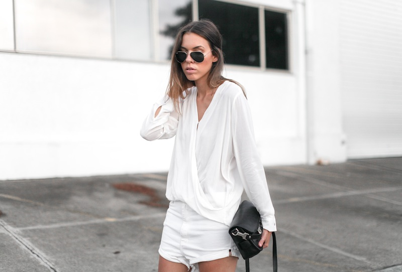 modern legacy fashion blog australia street style all white minimalist Proenza Schouler PS11 mini bag Witchery drape shirt One Teaspoon Lovers boyfriend denim shorts black suede ankle boots blogger (4 of 7)