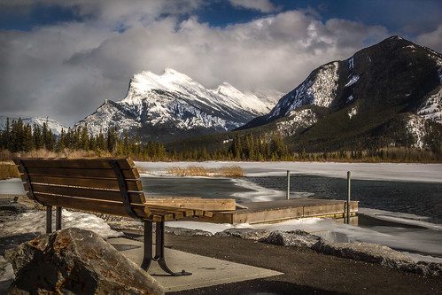 park trees snow mountains ice nature beautiful pine reflections bench landscape lakes mount national banff peaks majestic vermilion rundle hbm cans2s