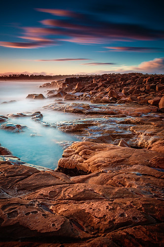 world ocean road longexposure trip travel blue camping sunset red sea sky beach nature water colors fog clouds canon landscape coast rocks waves pacific cloudy dusk tide tripod australia cliffs nsw newsouthwales coastline australien downunder eastcoast 2013 crowdyhead canon6d