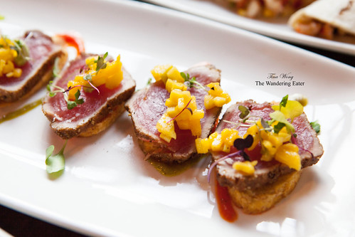 Spice Crusted Tuna on Plantain Chips