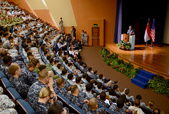Rear Adm. Charlie Williams, commander, Task Force 73, addresses U.S. and Singapore Armed Forces personnel during the exercise CARAT opening ceremony. (U.S. Navy/MC1 Jay Pugh)