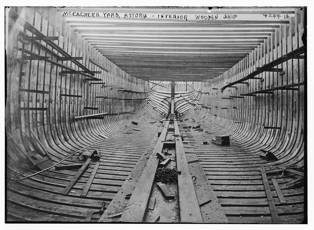 McEachern Yard, Astoria -- interior wooden ship (LOC)