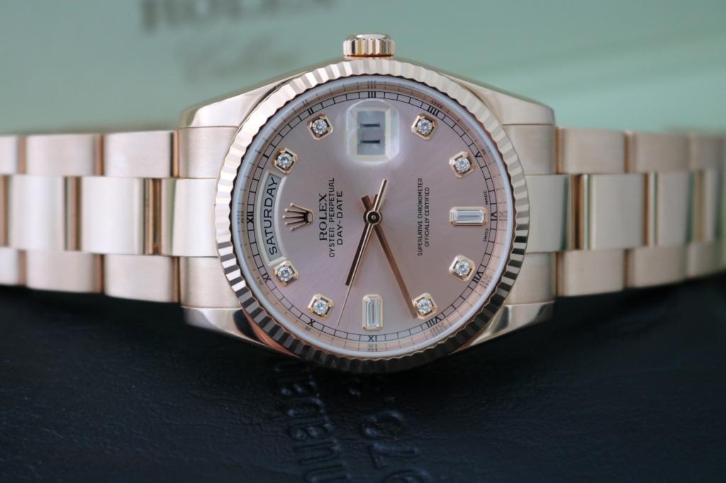 Bán đồng hồ rolex day date 6 số 118235 – mặt hạt xoàn – vàng hồng 18k – size 36mm