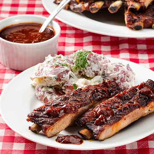 Tangy KC-Style Barbecue Sauce on ribs