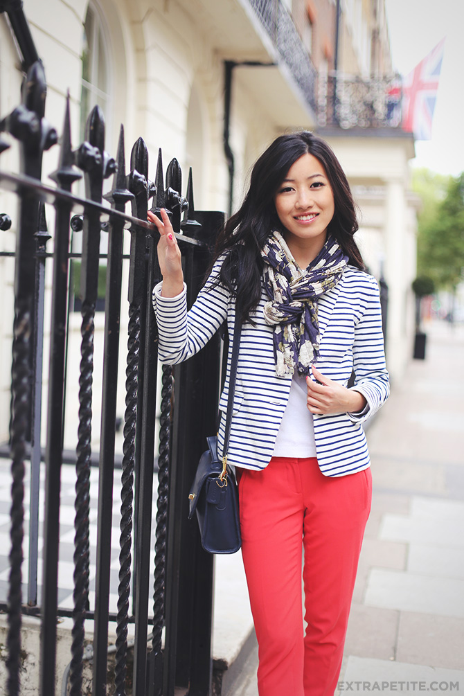 striped blazer red pants