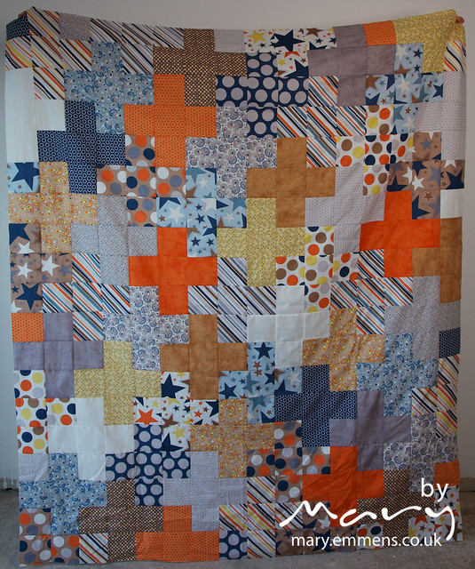 Modern Plus Quilt top for Siblings Together