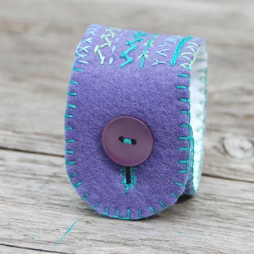 felt cuff 'purple & aqua' [#8]