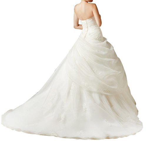 GEORGE BRIDE ELegant Strapless Ball Gown Satin Wedding Dress