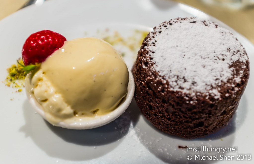 Warm chocolate fondant served w/vanilla ice cream Nick's Bar & Grill