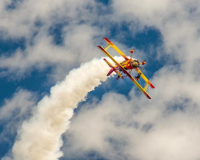 Bi-Plane, Wing Walker, Barnstormer, Gene Soucy, Teresa Stokes, EAA, Airshow, Aerobatics, Flying