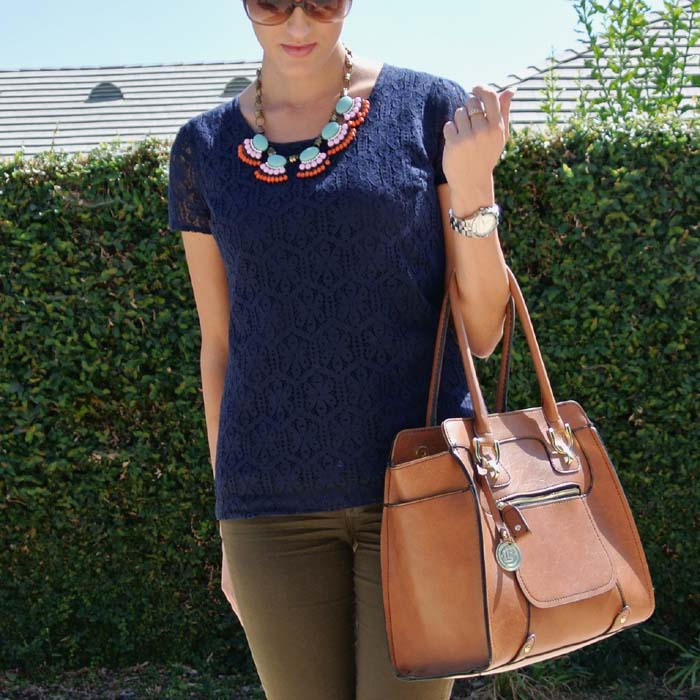 Outfit: navy lace + olive green